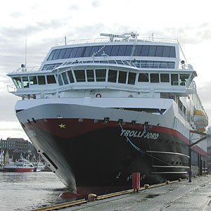 Trollfjord is one of the Hurtigruten Norwegian Coastal Voyage ships
